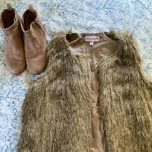 Jackets & Blazers - Faux fur vest and booties